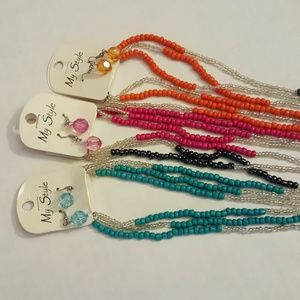 3 Necklace & Earring Sets